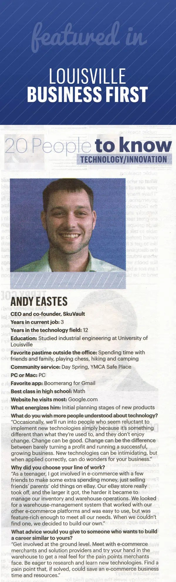 "Andy Eastes, SkuVault CEO: Business First's ""Top 20 People to Know"""