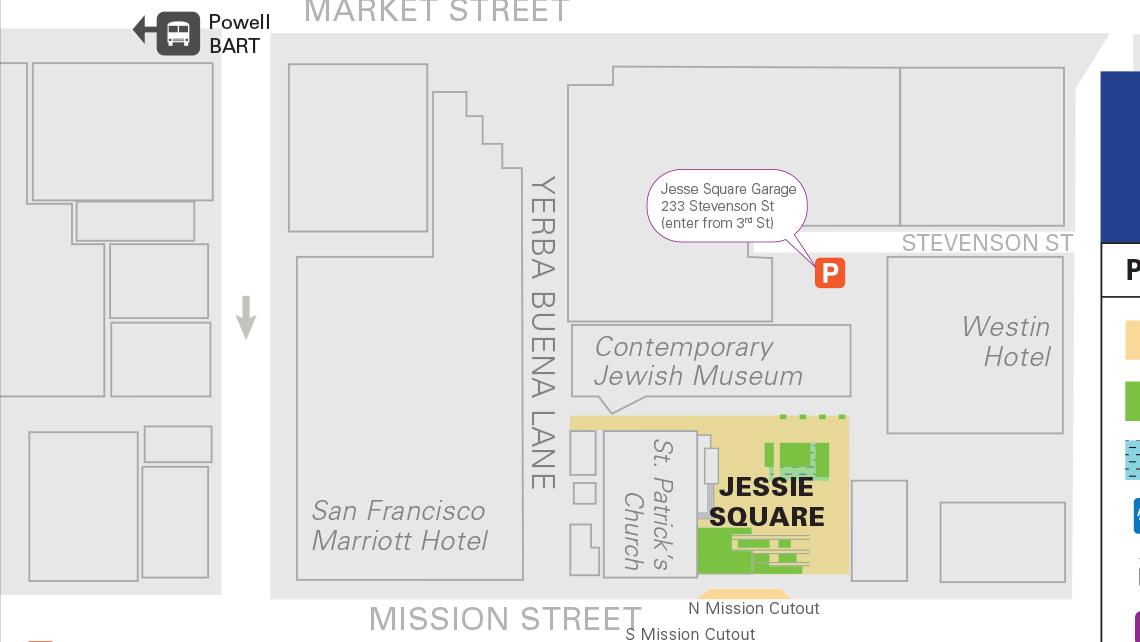 Map of Yerba Buena Gardens' central block 1.