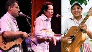 """Photo of son jarocho masters Andrés Flores, Alfredo """"Godo"""" Herrera, and Joel Cruz Castellanos"""