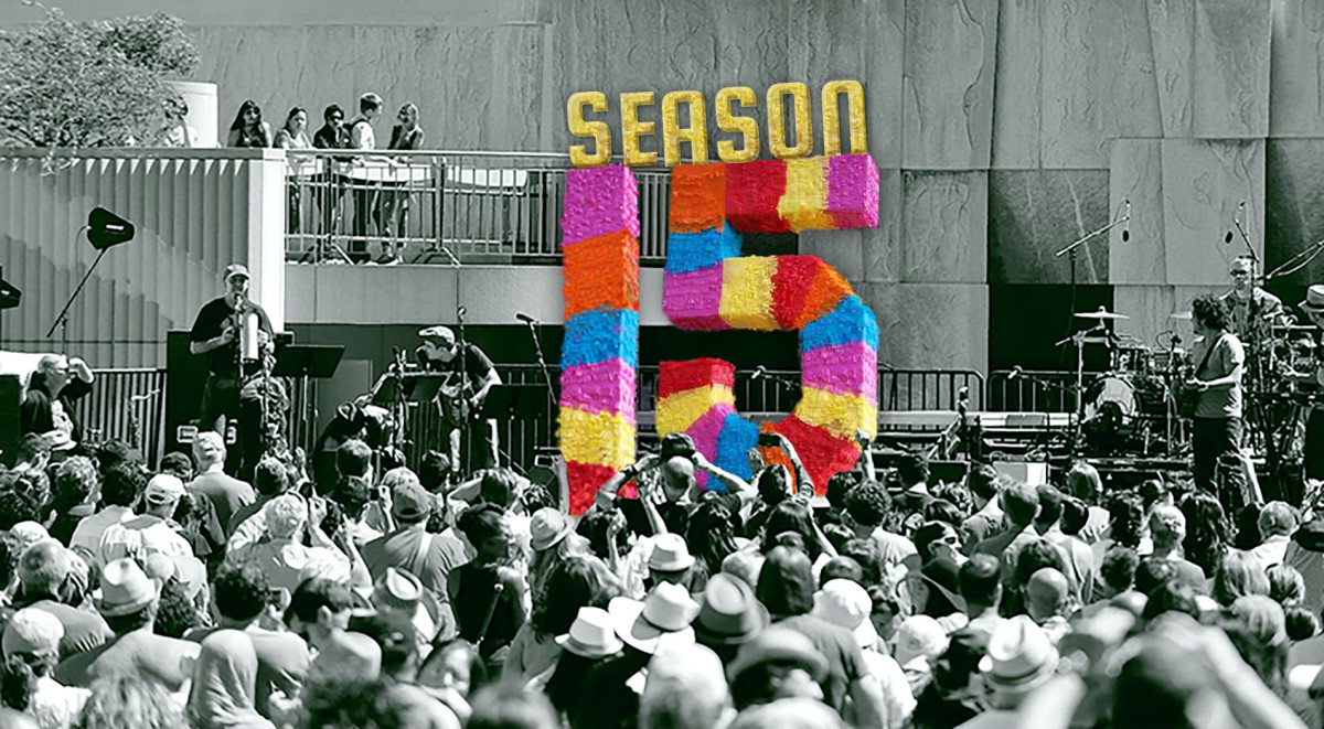 Photo of a giant Season 15 piñata on the stage at Yerba Buena Gardens