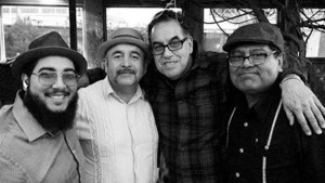 Black and white photo of Los Compas