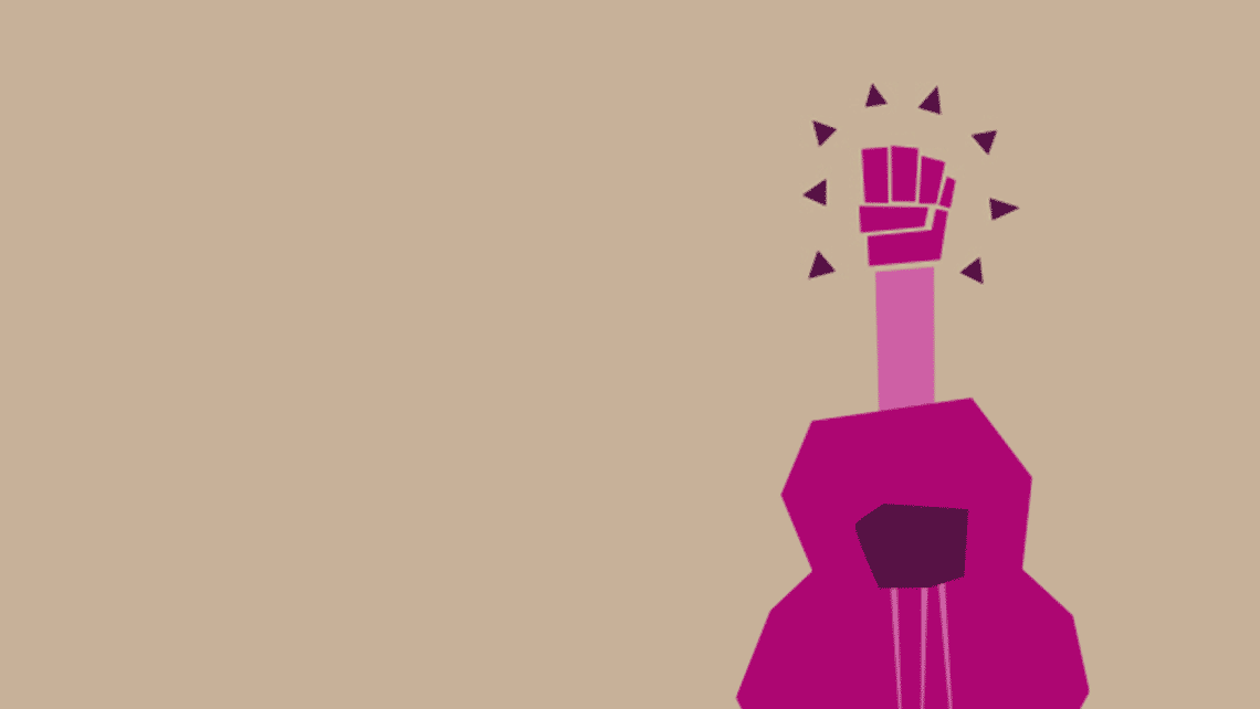 Illustration of a guitar with a raised fist