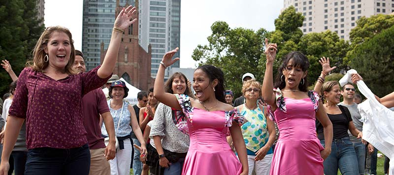 Photo of people dancing at Yerba Buena Gardens Festival