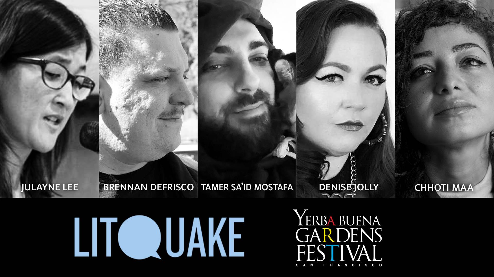 Photos of poets Julayne Lee, Brennan DeFrisco, Tamer Sa'id Mostafa, Denise Jolly, and musical guest Chhoti Maa