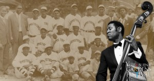 Photo of Marcus Shelby with upright bass and historical photo of Louis Armstrong's baseball team