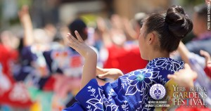 Close-up photo of a young woman wearing a blue kimono standing with hands in a dance pose. Photo by Mark Shigenaga.