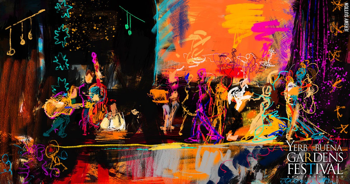 Bright neon and black digital sketch of musicians and dancers on a stage, by Jeremy Sutton