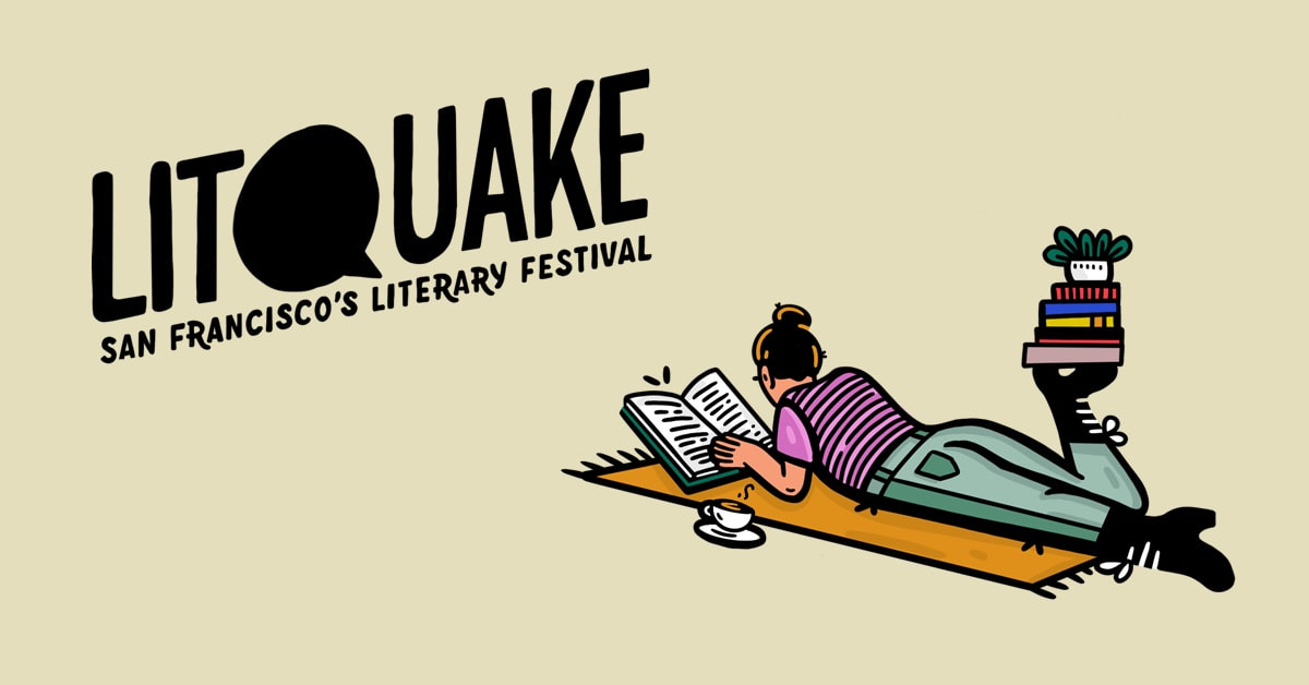 Litquake logo with illustration of a female figure, laying down on a blanket reading next to a stack of books