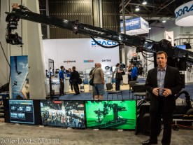 Las Vegas, NV - April 18, 2016: Spokesman for Technodolly makes his pitch at the NAB Show. Photo by James Mattil, YBLTV Writer / Reviewer / Photographer.