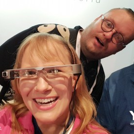 Epson Public Relations Manager, Darek Connole with YBLTV Writer/Reviewer, Jack X and YBLTV Anchor, Erika Blackwell at interDrone 2016.