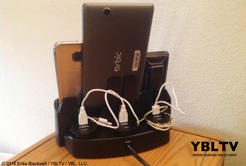 YBLTV Erika Blackwell Review: Dok Solution LLC.: CR33 5 Port Smart Phone Charger with Bluetooth Speaker and Speaker Phone: in-use rear of unit.