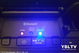 YBLTV Erika Blackwell Review: Dok Solution LLC.: CR33 5 Port Smart Phone Charger with Bluetooth Speaker and Speaker Phone: Close-Up of power button.
