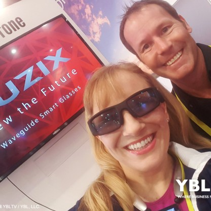 Vuzix Corporation, Mike Hallett, Director of Consumer Sales, North America with YBLTV Anchor, Erika Blackwell at CES 2017.