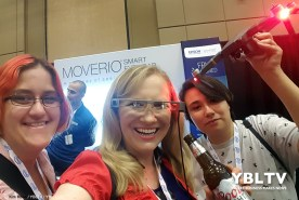 YBLTV Team: Photographer & Reviewer Assistant, Kim Rose, Video Producer, Amy Armenta and Writer / Reviewer Jack X experience Epson's third-generation Moverio augmented reality (AR) smart glasses at InterDrone 2017.