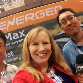 YBLTV Anchor, Erika Blackwell meets Energen, Director of Sales and Marketing, Victor Wang and Vice President, Edward Lee at InterDrone 2017.