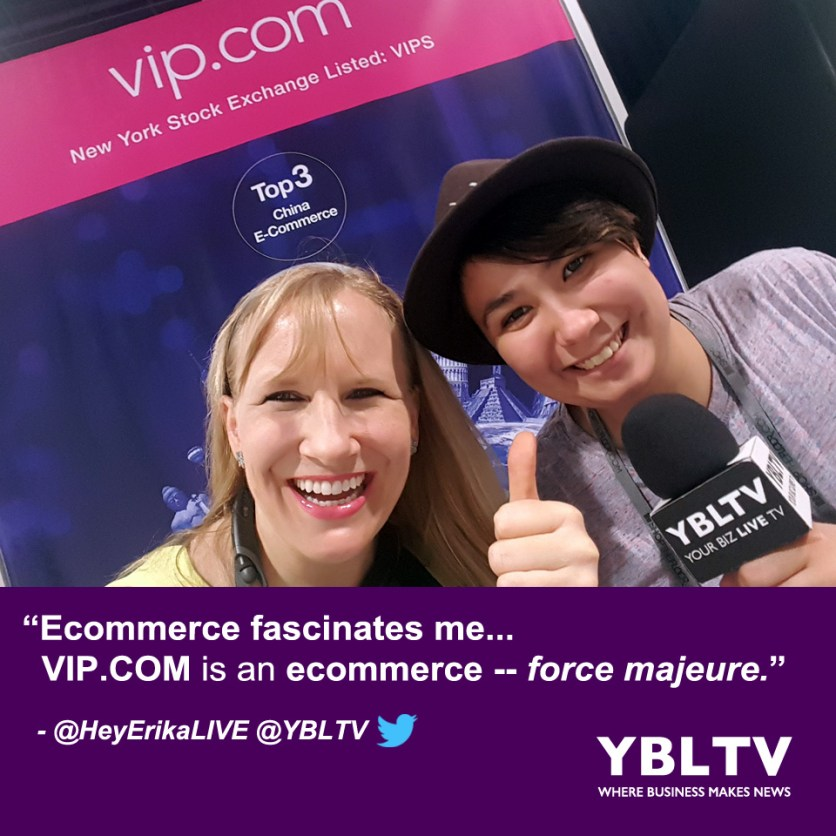 """""""Ecommerce fascinates me... VIP.COM is an ecommerce -- force majeure,"""" - Erika Blackwell, YBLTV Anchor with Amy Armenta, YBLTV Video Producer at MAGIC 2017."""