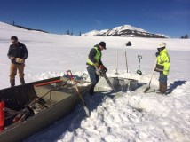 Ice removal near outflow irrigation pipe