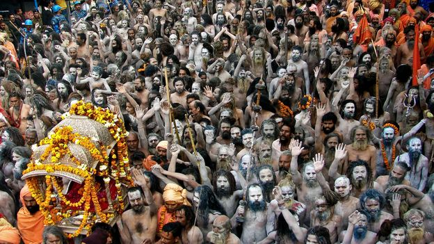 India's Kumbh Mela festival is billed as the world's largest gathering of people (Credit: Credit: Subir Basak/Getty Images)