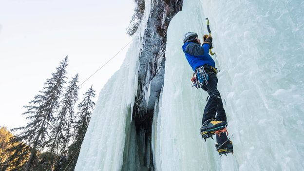 "In ""isklättring"" or ice-climbing, Swedes use pickaxes to ascend frozen waterfalls (Credit: Credit: Johner Images/Alamy)"