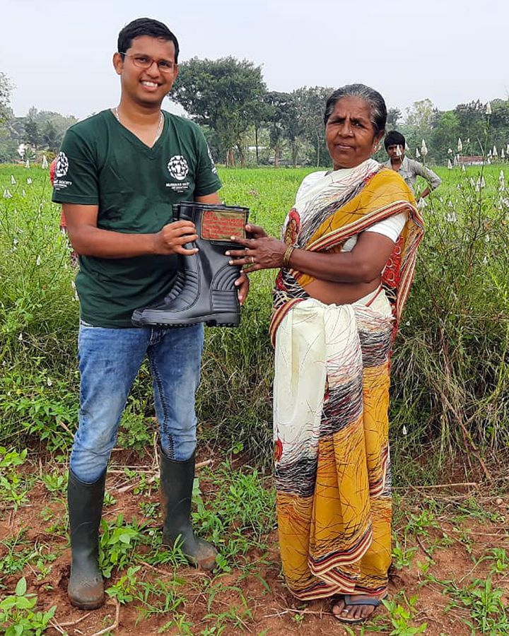 The majority of snake bites in India occur as accidents when people tread on snakes they don't see – thick rubber boots can offer some protection (Credit: Sumanth Bindumadhav/HSI)