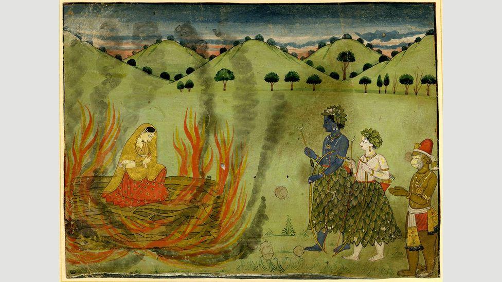 Ramayana'dan gelen bu sahne, Sita'nın iffetini test etmek için ateşle çileden çıkmasını tasvir ediyor (Kredi: British Museum)
