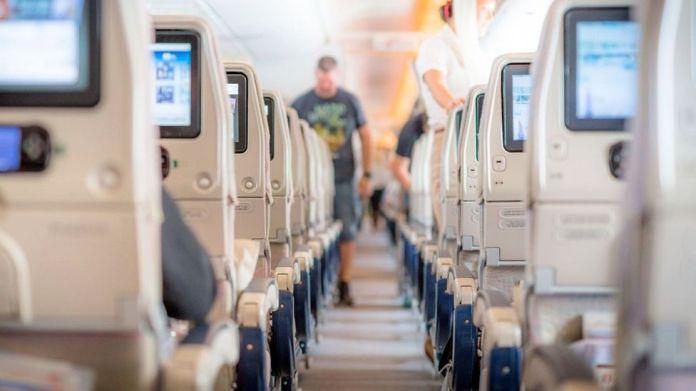 Interior of large passenger plane, taken on 2 May 2018