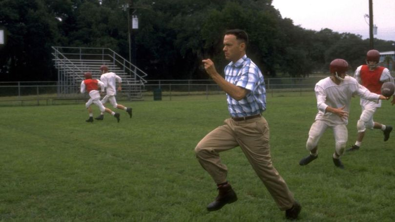 Hanks has always had a proclivity for playing ordinary people in extraordinary circumstances, as in his 1994 hit Forrest Gump (Credit: Alamy)