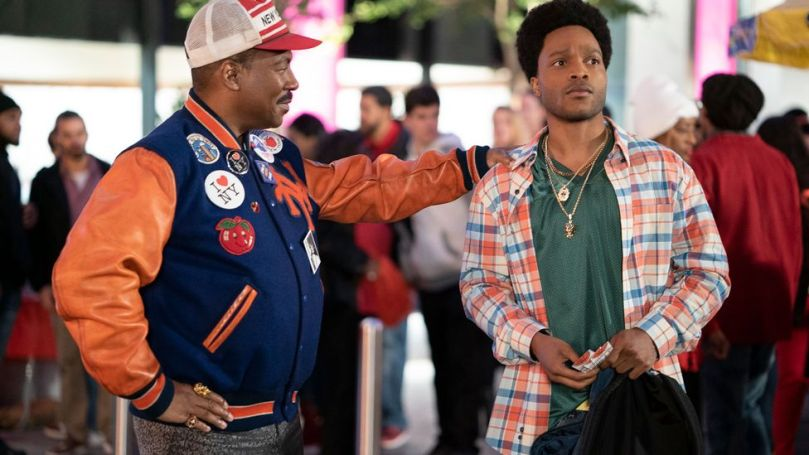 Comedy sequel Coming 2 America sees Eddie Murphy's King Akeem of Zamunda returning to the US in search of his heir (Jermaine Fowler) (Credit: Amazon Prime)