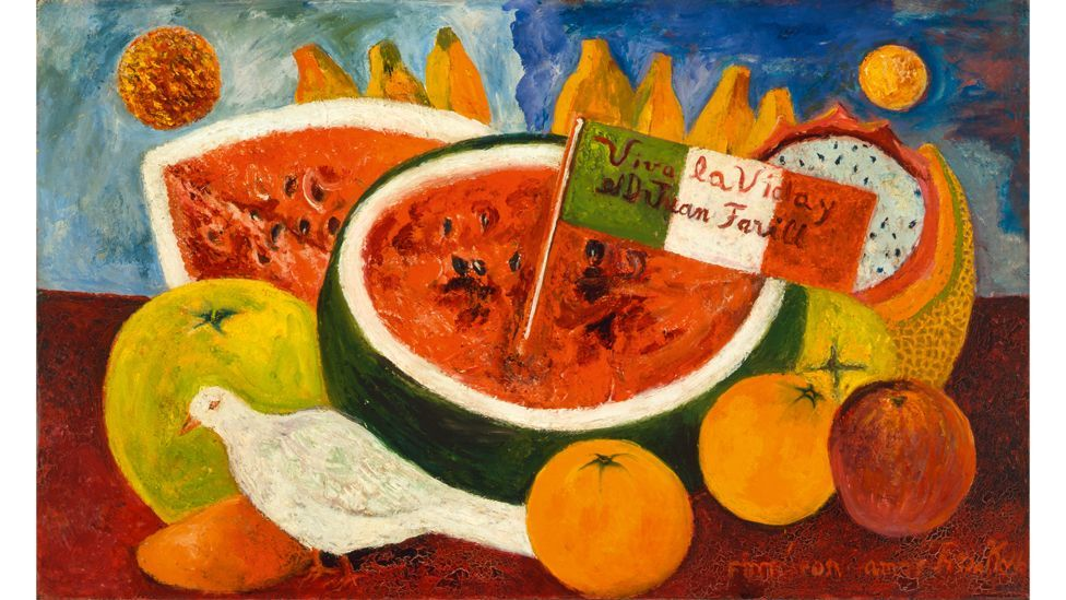 Kahlo included the Mexican flag and the dove as motifs in her later work, such as Still Life (Long Live Life), 1953-54 (Credit: Rafael Doniz/ Banco de Mexico/ VG Bild-Kunst)