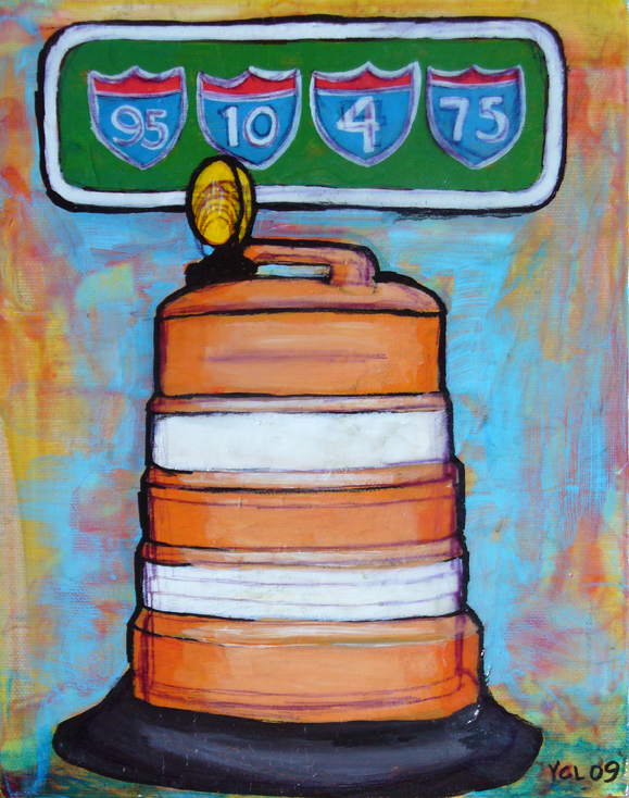 "THE HOTTEST HIGHWAY ACCESSORY IN FL. 8""X10"" mixed media on canvas"