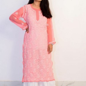 Buy Hand Embroidered Lucknowi Chikan Pink and White Georgette Kurti