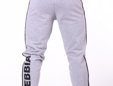 Nebbia Grey Side Stripe Retro Joggers