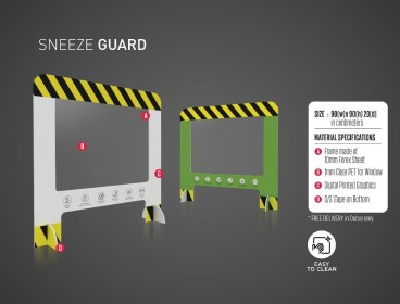Portable Freestanding Sneeze Guard for Desks & Check Out Counters