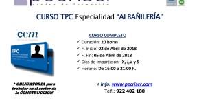 Matrículas abiertas curso TPC albañilería 20 horas