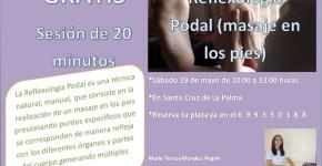 GRATIS. Sesión de 20 minutos de Reflexología Podal. El sábado 19 de mayo.