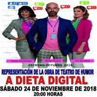Representación de la obra de teatro de humor A Dieta Digital de la Compañía Clapso Producciones en San Andrés y Sauces