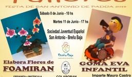 Para San Antonio talleres de Goma Eva y elaboración de flores de Foamiran