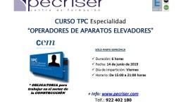 """Curso TPC: Especialidad de """"Operadores de Aparatos Elevadores"""""""