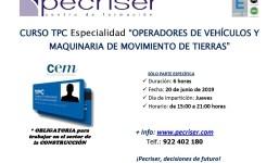 """Curso TPC: Especialidad de """"Operadores de Vehículos y Maquinaria de Movimiento de Tierras"""""""