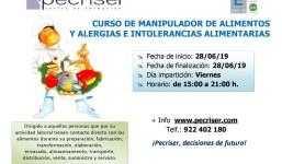 Curso de manipulador de alimentos y alergias e intolerancias alimentarias.