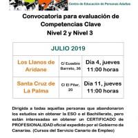 Convocatoria para evaluación de Competencias Clave