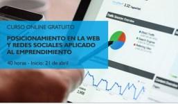 """Curso online: """"Posicionamiento en la web y redes sociales aplicado al emprendimiento"""""""