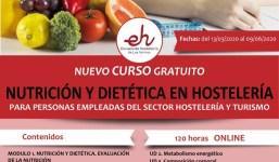 """ULTIMAS PLAZAS PARA EL CURSO GRATUITO """"NUTRICIÓN Y DIETÉTICA EN HOSTELERÍA"""""""