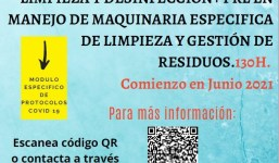 CURSO GRATIS: LIMPIEZA Y DESINFECCIÓN CON PROTOCOLOS COVID-19+ PRL EN MANEJO DE  MAQUINARIA  ESPECIFICA DE LIMPIEZA Y GESTION DE RESIDUOS