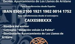 El Ayuntamiento de Los Llanos de Aridane pone a disposición una cuenta bancaria para donativos por el volcán