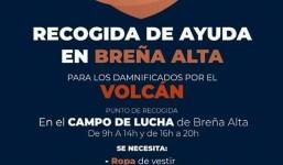 Recogida de Ayuda en Breña Alta para los damnificados por el volcán