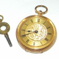 A LADY'S 18CT GOLD FOB WATCH