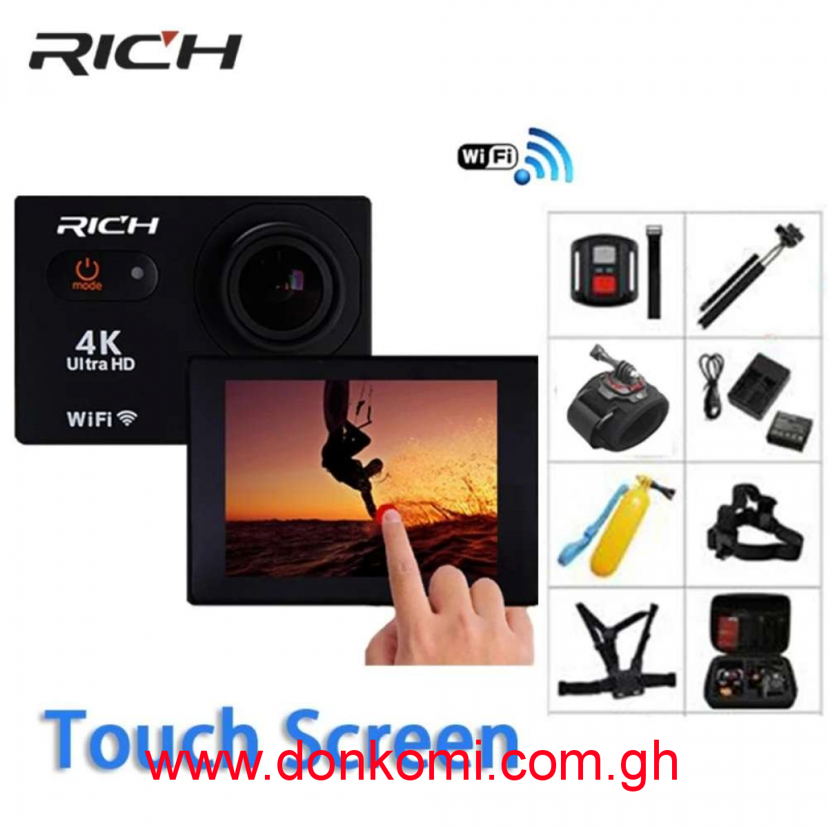 4K 1080P remote control waterproof touch screen WiFi  Camera