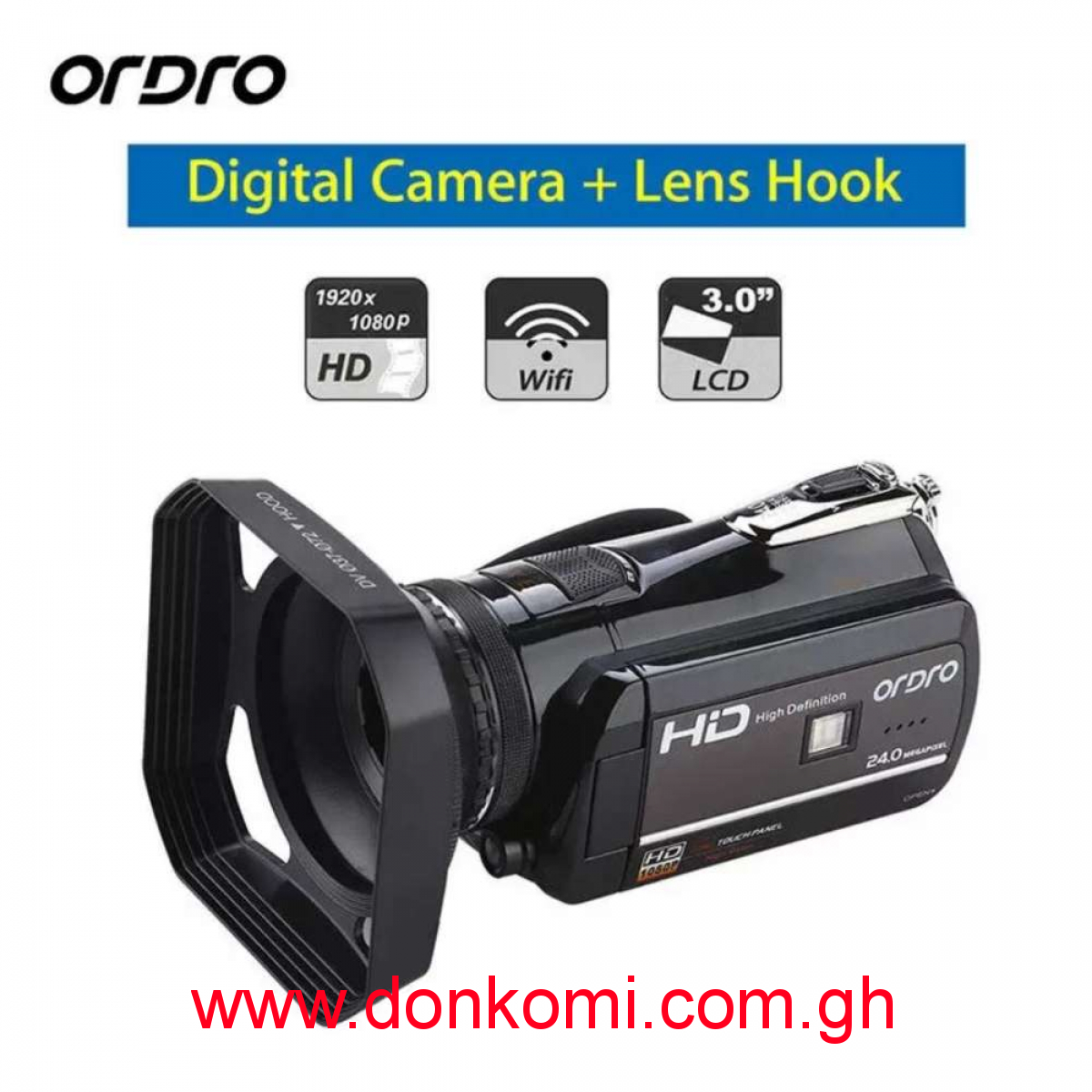 """1080P Wifi 3.0"""" Touch Screen Handheld Video Camera/Camcorder"""