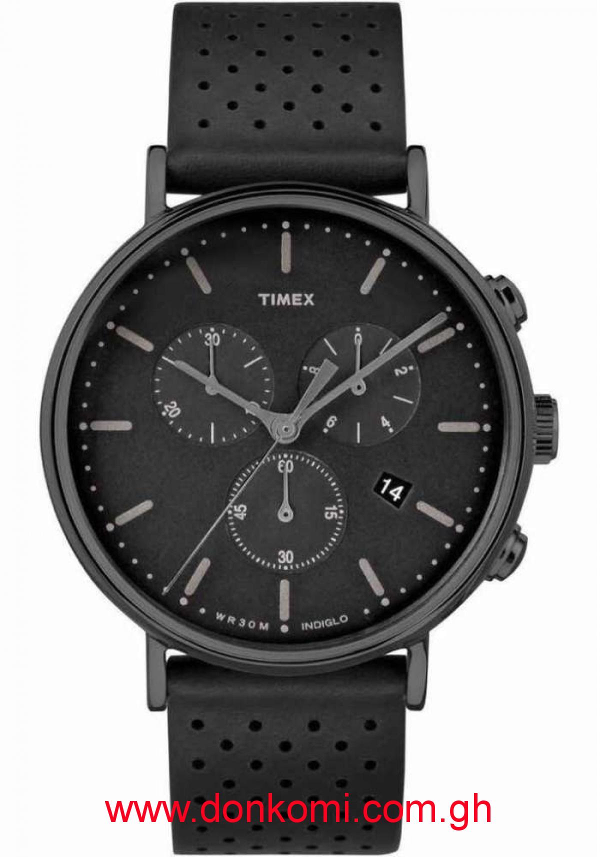 Timex black leather watch